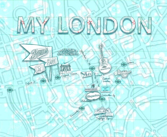 Map drawing of London city landmarks