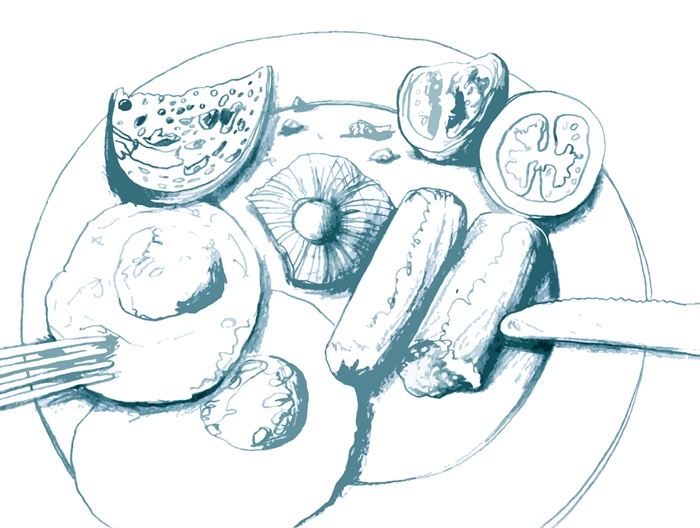 Chopped vegetables in plate pencil sketch
