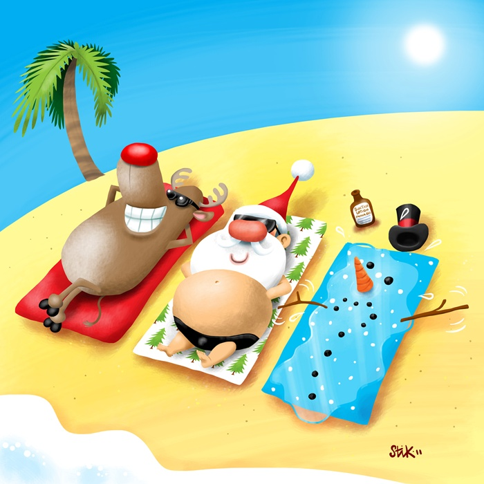 Man and cow taking sun bath cartoon art