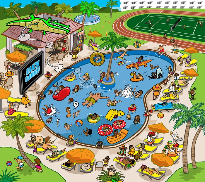 Illustration of people enjoying in swimming pool