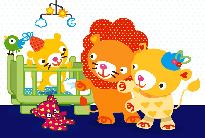 Lion couple with elephant toy illustration