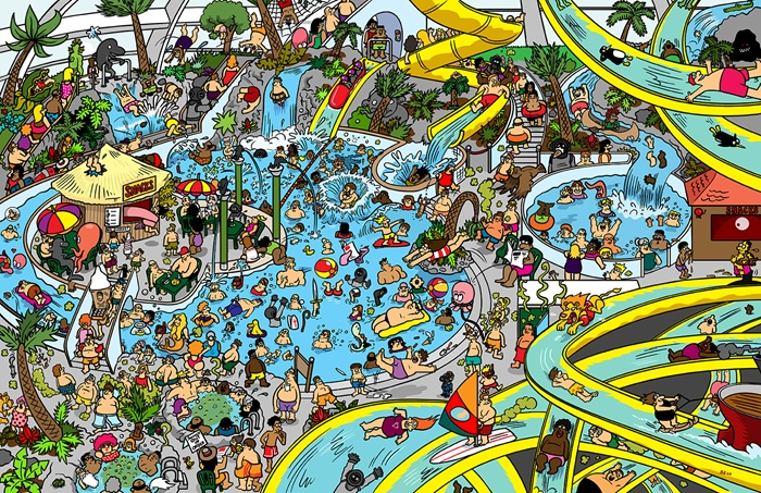 Illustration of people swimming in pool
