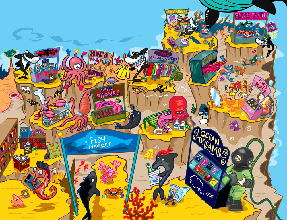 Beach market for aquatic animals illustration