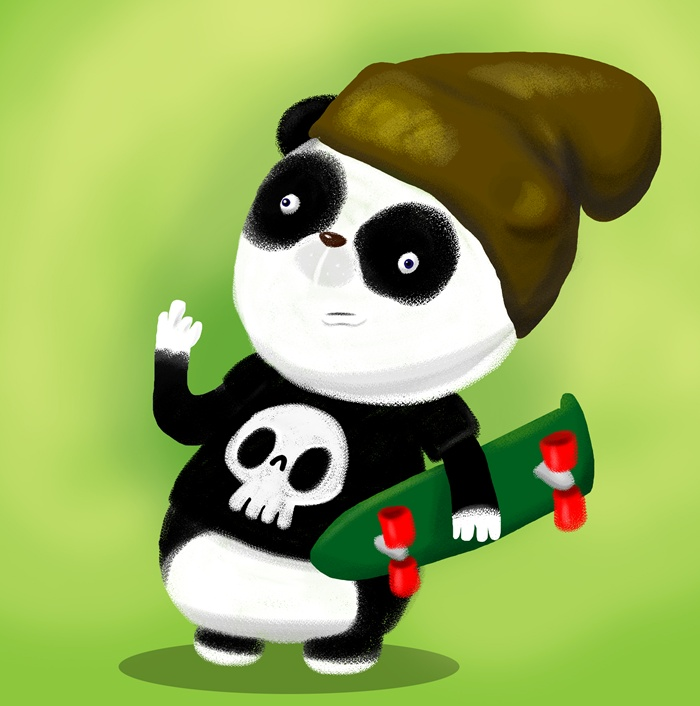 Cartoon panda holding a skateboard