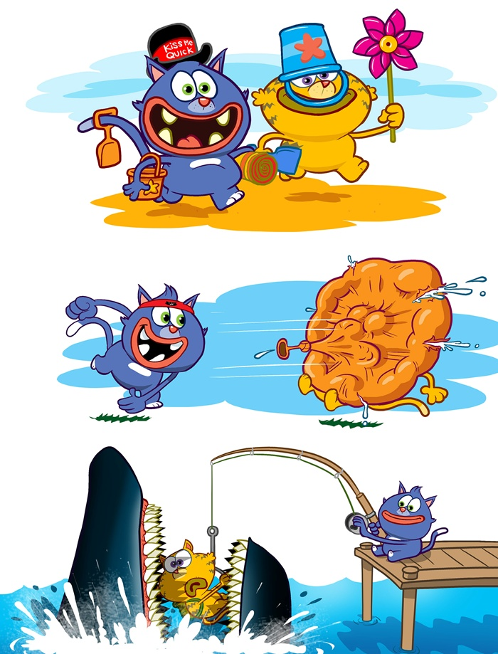 Cartoon characters catching shark funny artwork