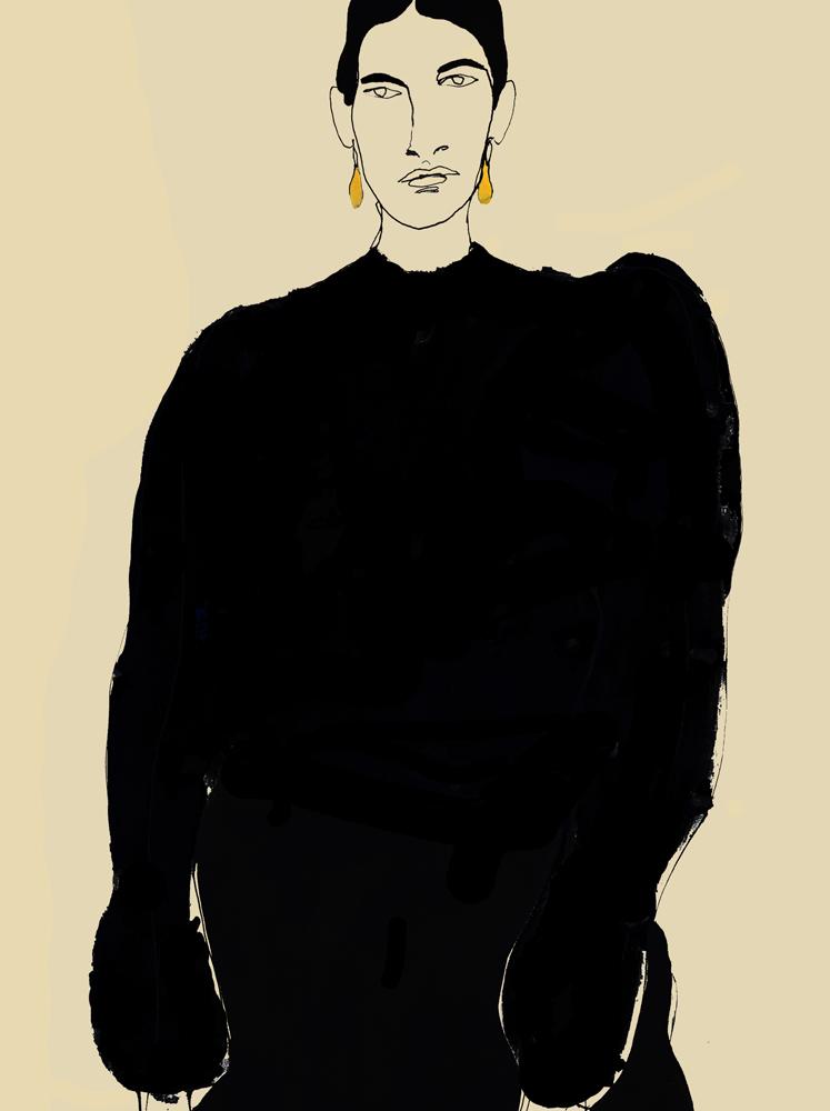 Model In Black Bishop Sleeve Dress