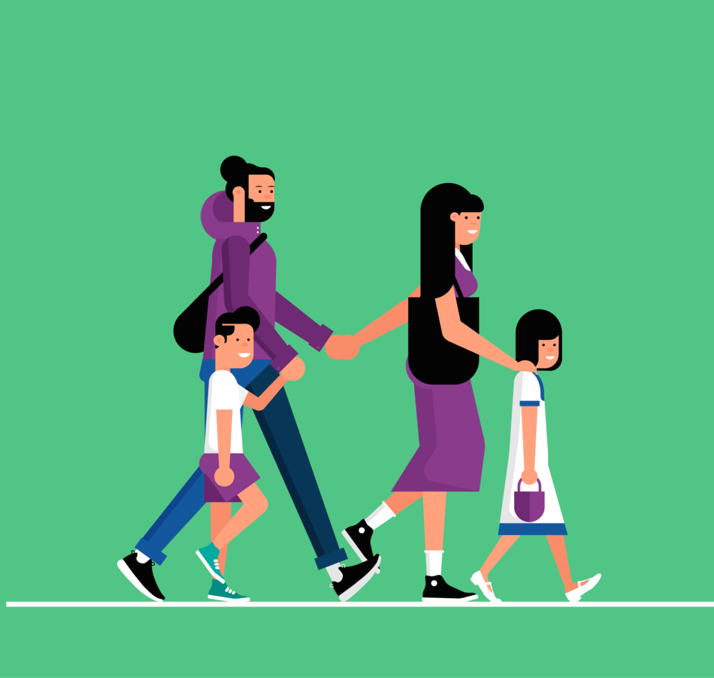 Illustration of walking family