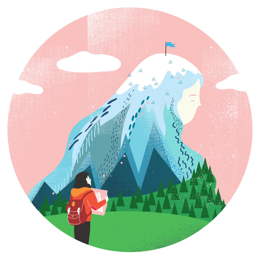 An illustration of girl and emotional mountain