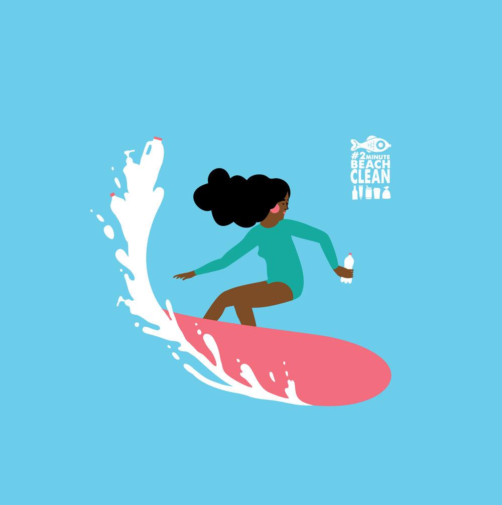 Surfing woman vector art
