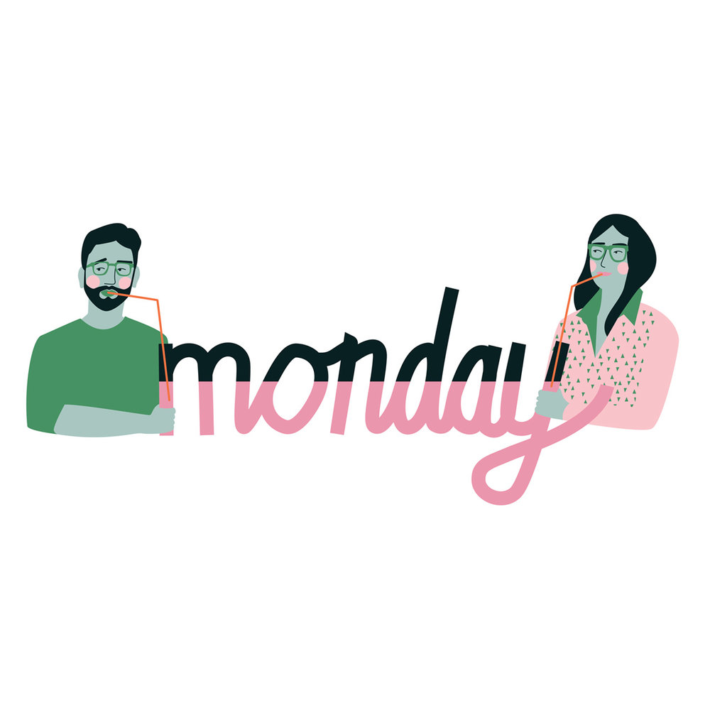 An illustration of man & woman with monday lettering