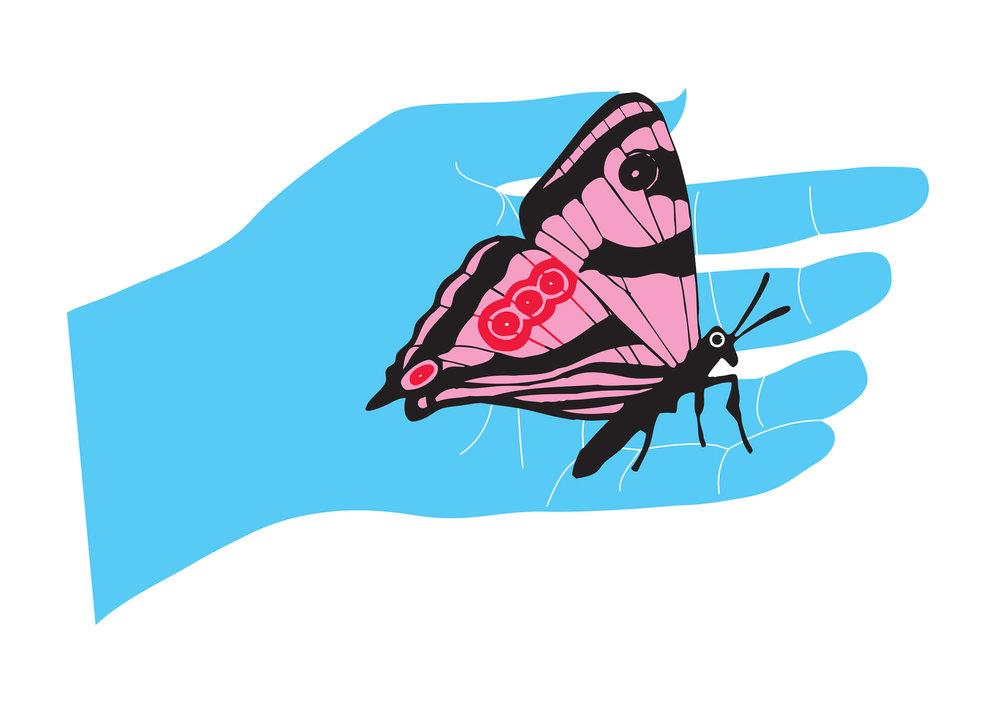 Illustration of blue hand holding butterfly