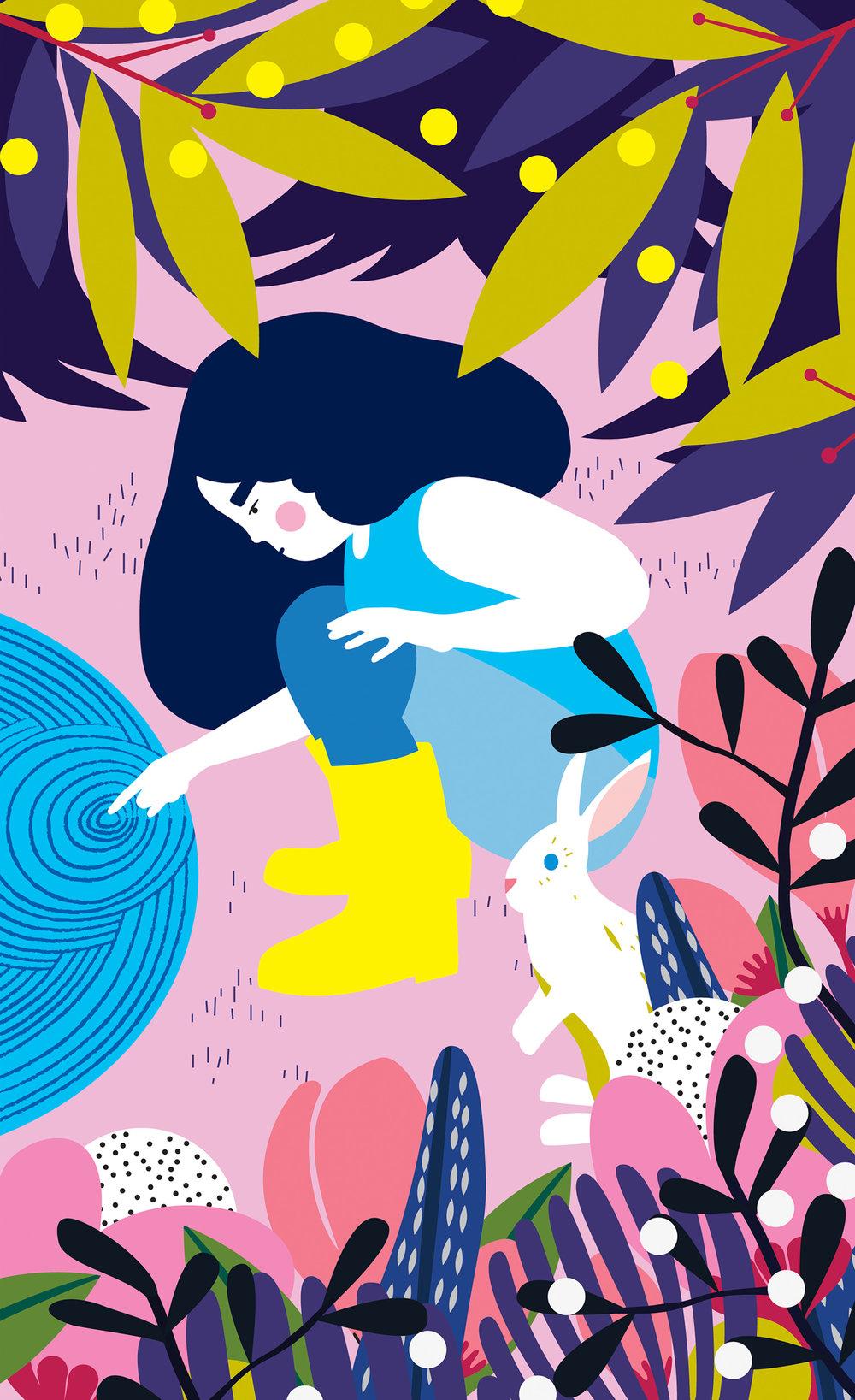 Children's illustration of girl with rabbit