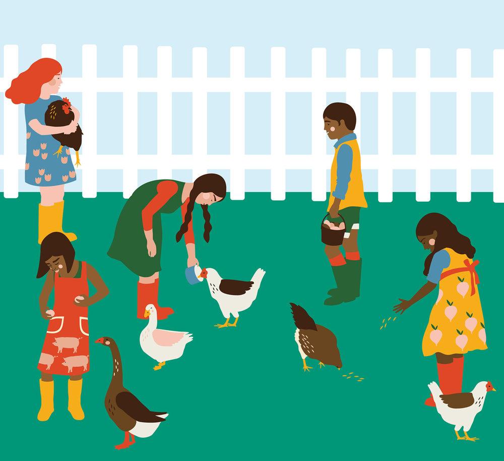 Vector illustration of children feeding birds