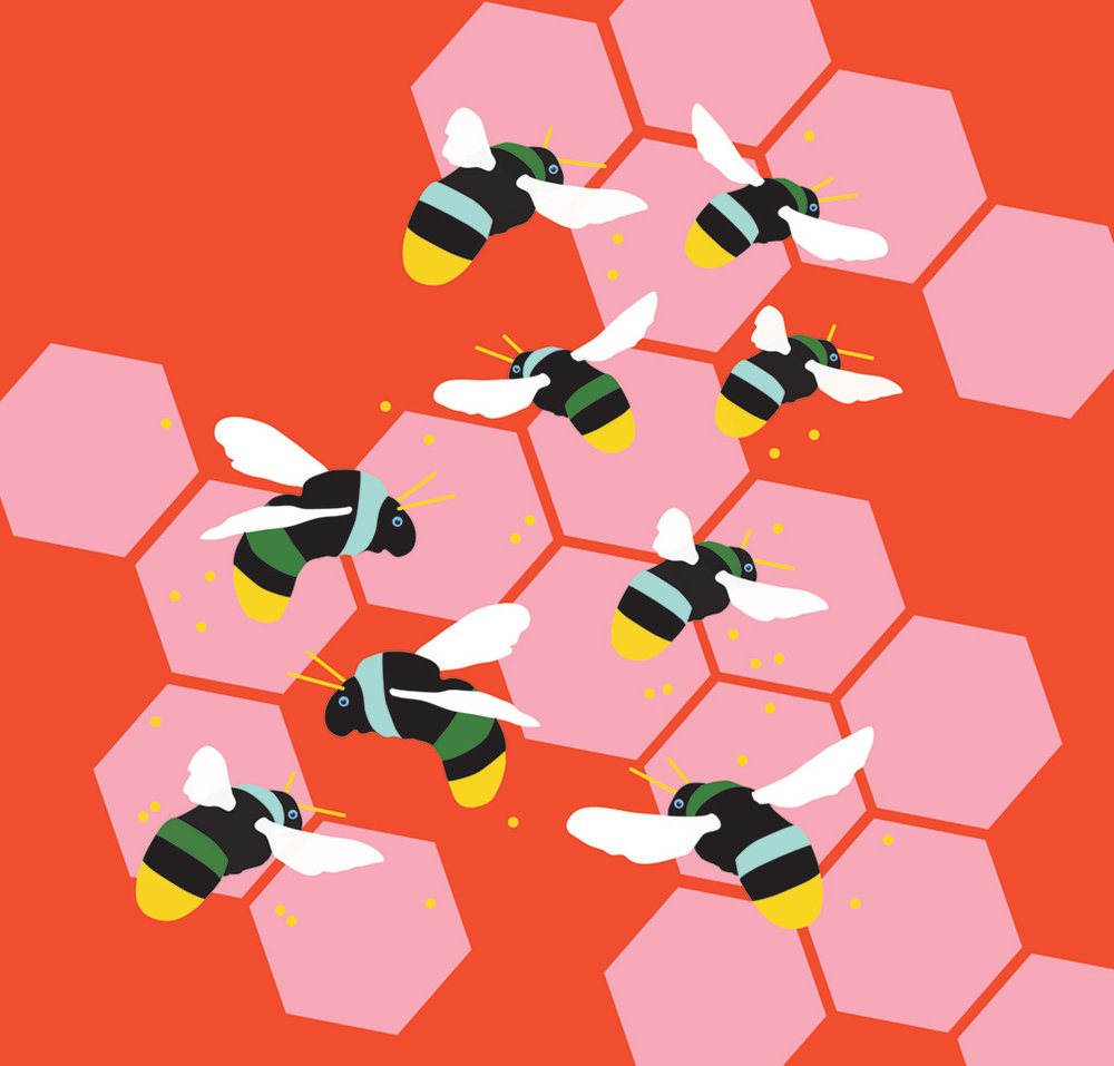 Vector art of the buzzing bees