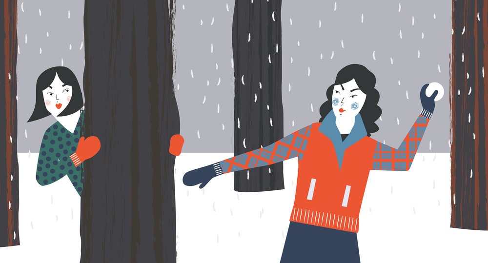 Digital illustration of women enjoying snowball fight