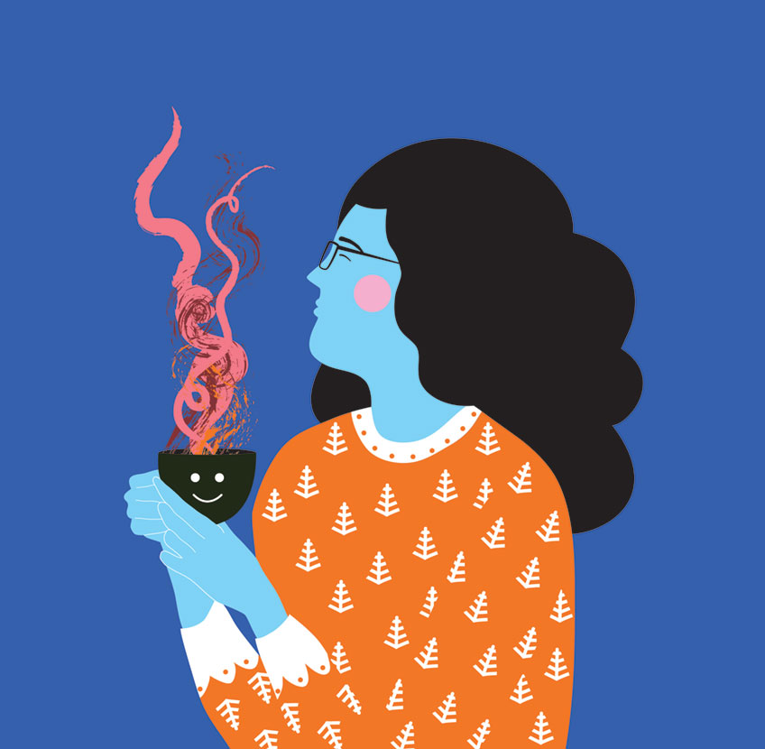 Vector illustration of woman drinking tea