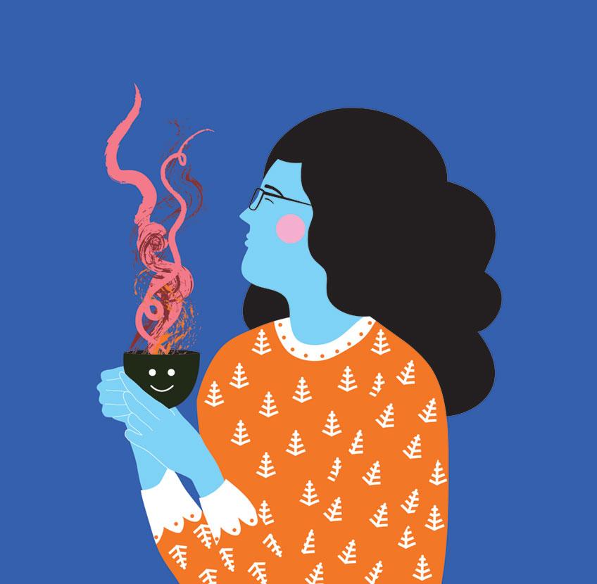 Vector illustration of woman drinking tea