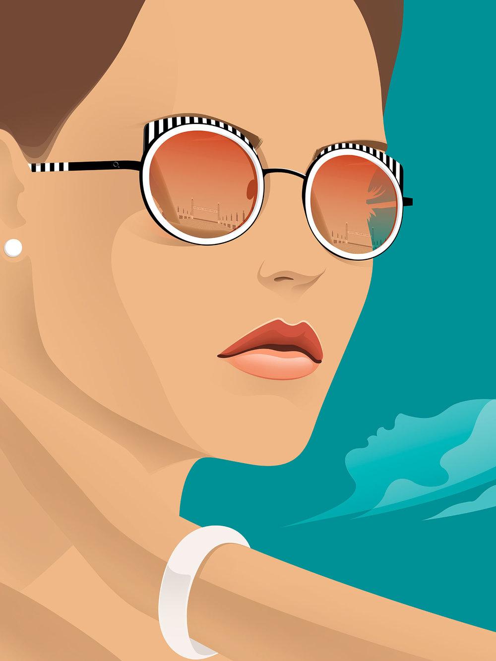 Woman Illustration For Spiga Glasses