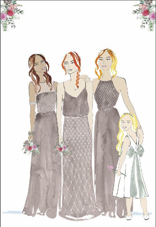 Bridesmaid Fashion Illustration