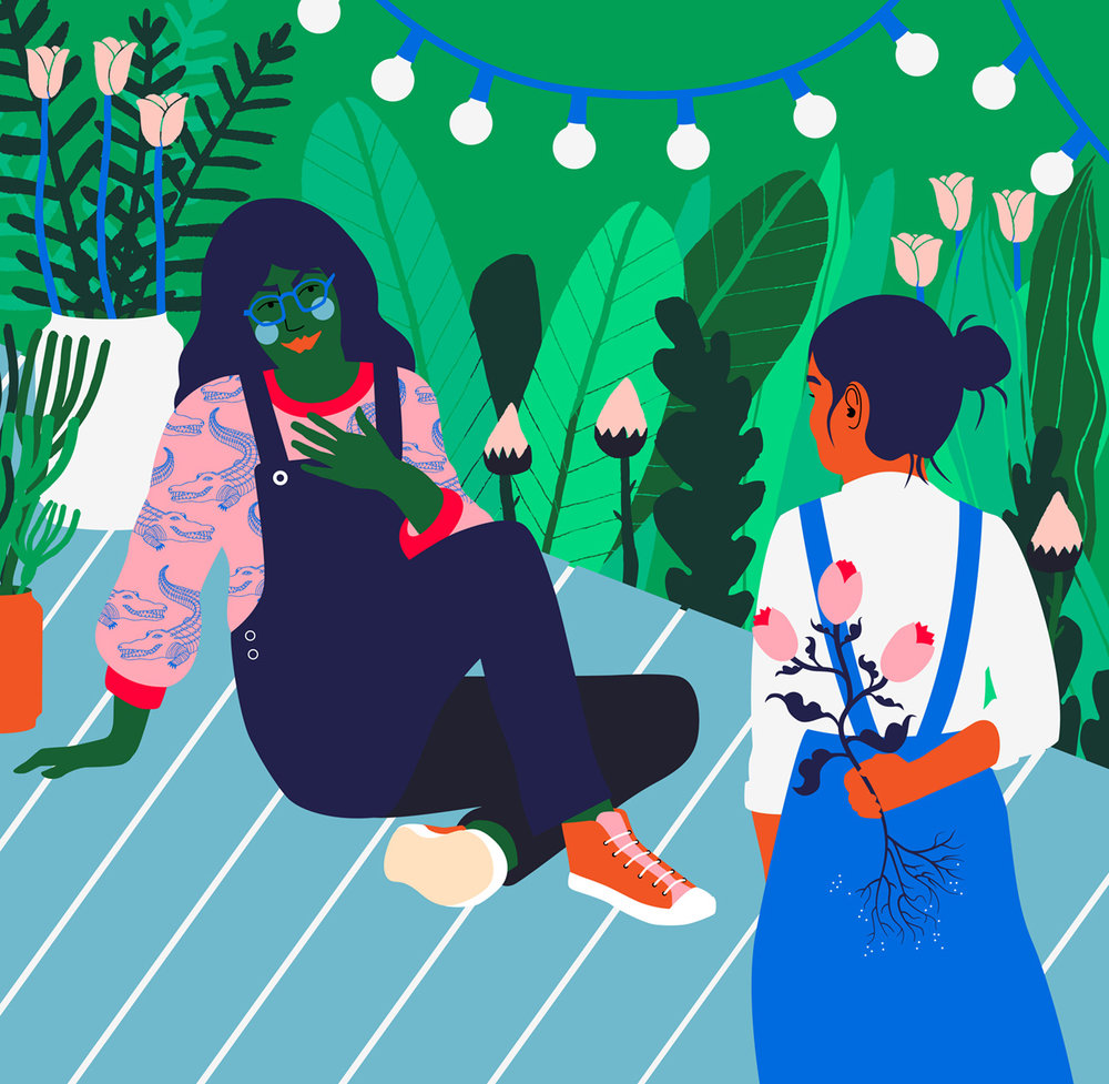 Gardening with kids illustration