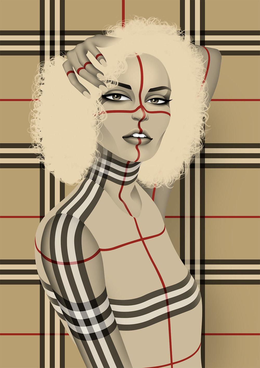 Burberry pattern dress by Reza Bassiri