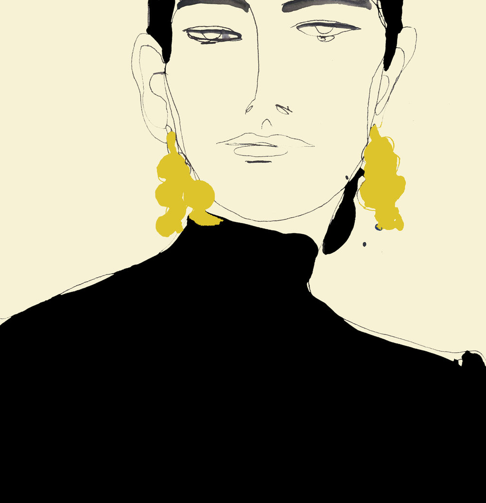 Illustration of woman wearing earrings