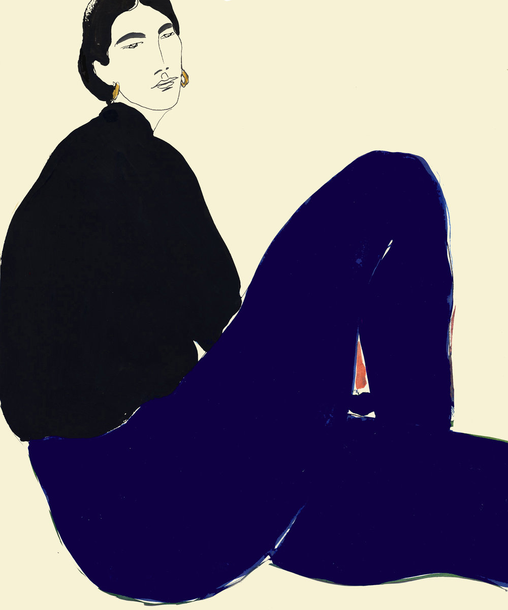 Watercolour Painting Of Black Shirt And Navi Blue Pant