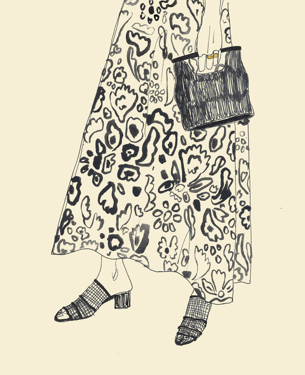 Watercolour Drawing Of Long Floral Skirt