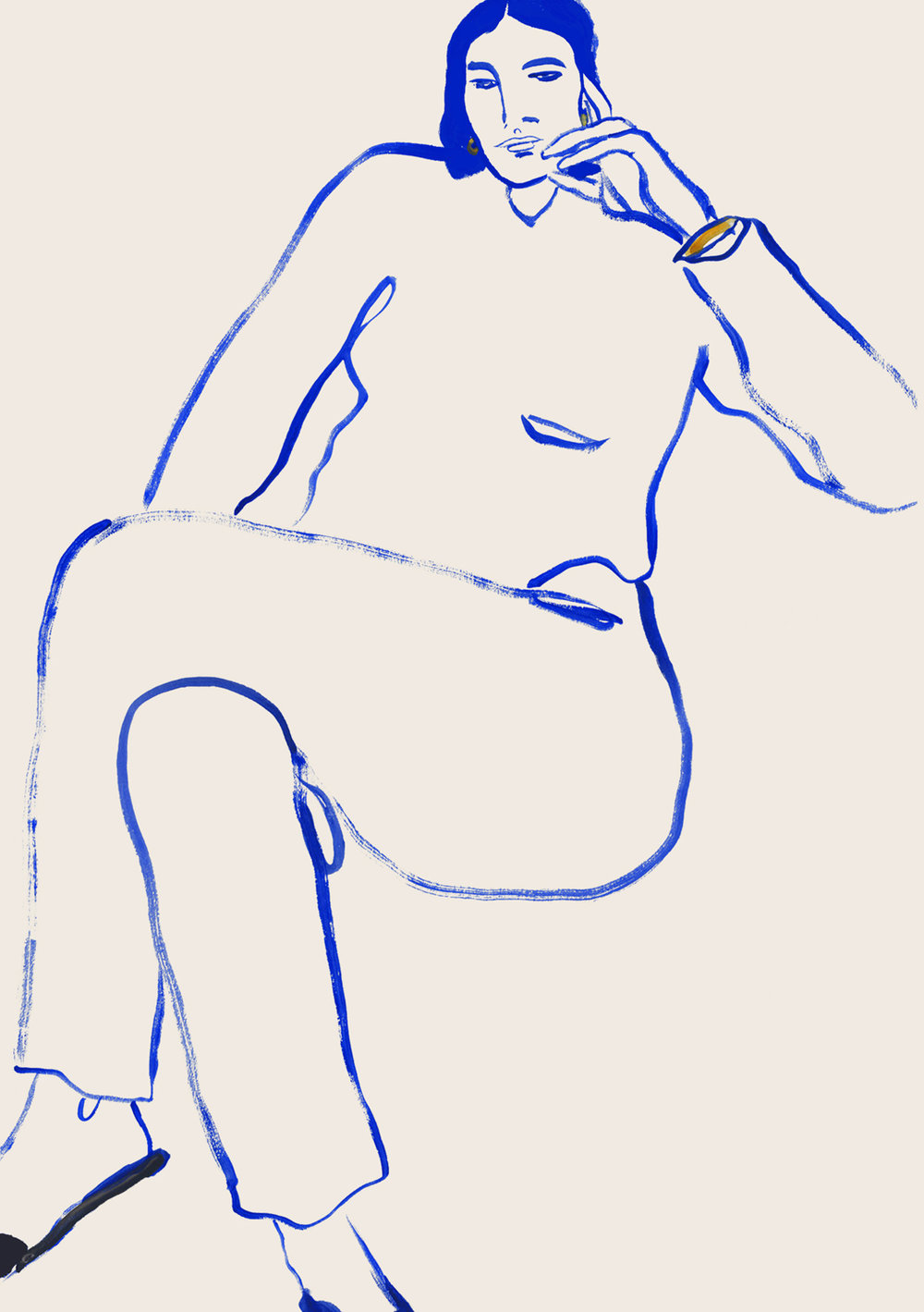 Line Drawing Of Fashion Model