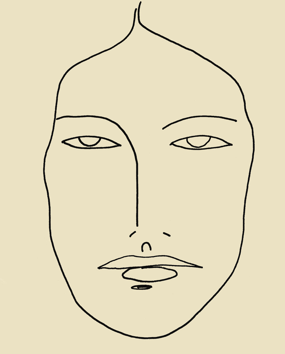 Line Art of Human Being Face
