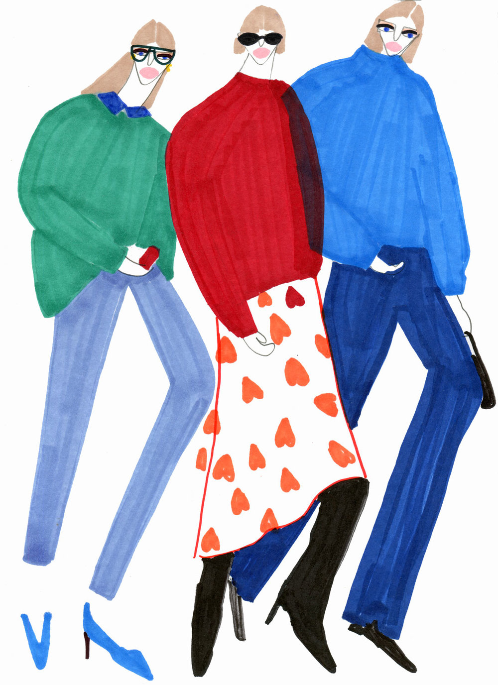Illustration of three girls in Fashion