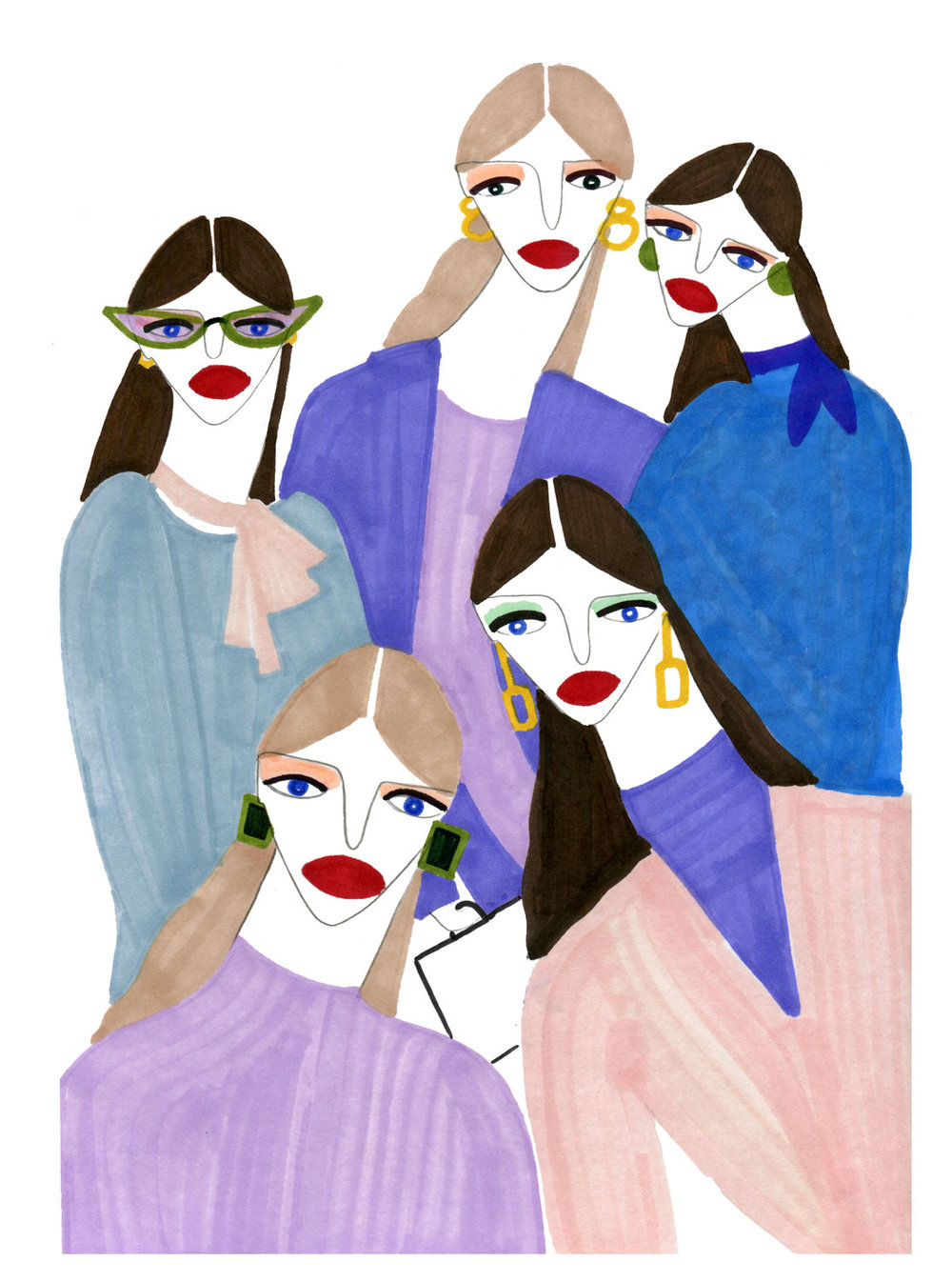 Illustration of Women with a typical Fashion