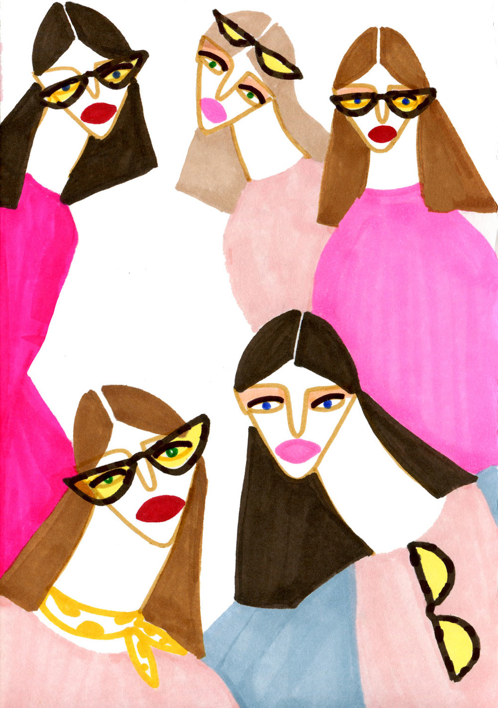 Artwork of Ladies featuring Stylish shades