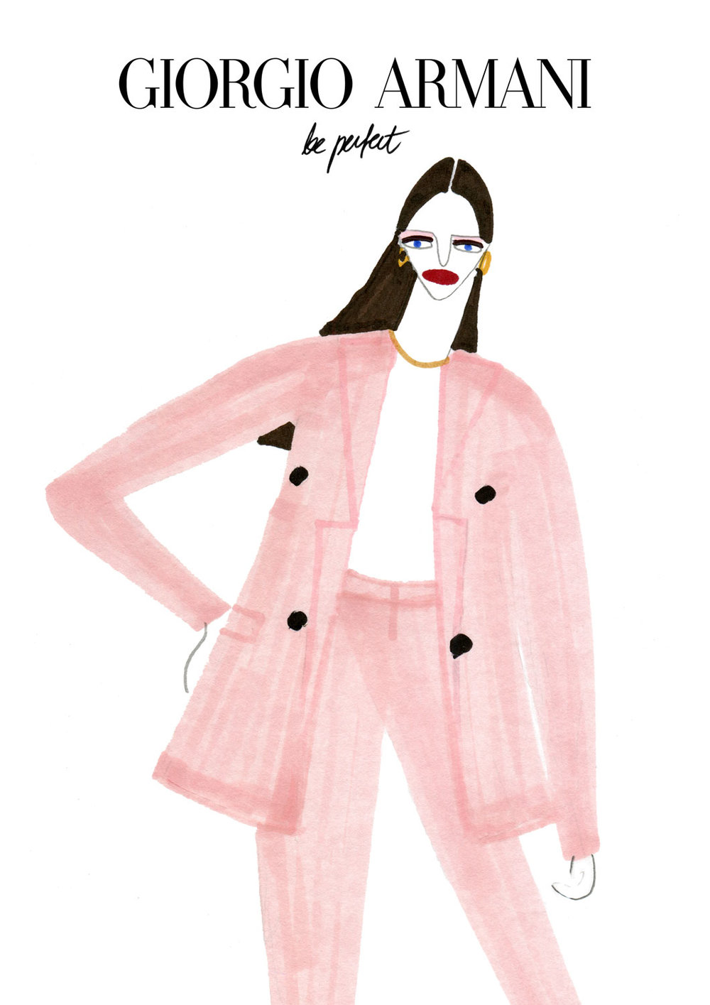Fashion illustration for Giorgio Armani's Model in Pink