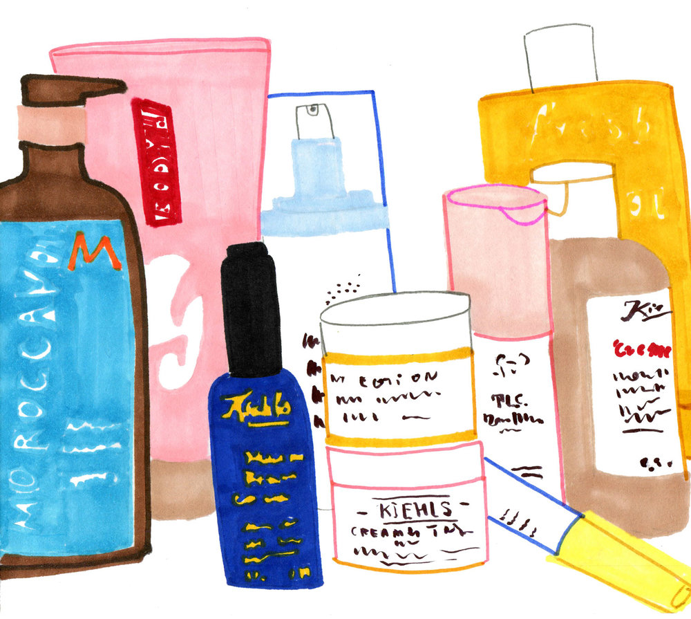 An artwork for different types of beauty cosmetics