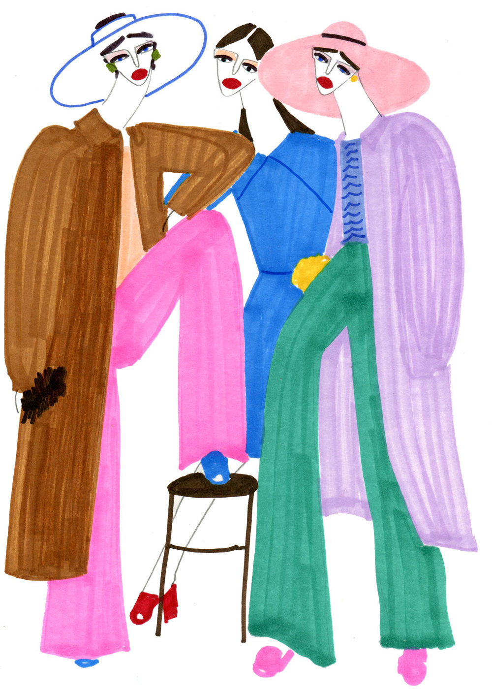 Illustration of girls with colourful long coats