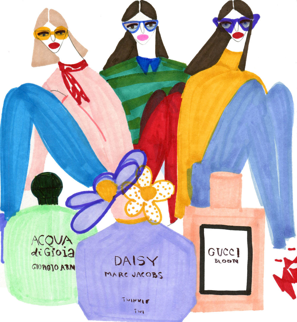 Editorial illustration of Women with top Perfumes