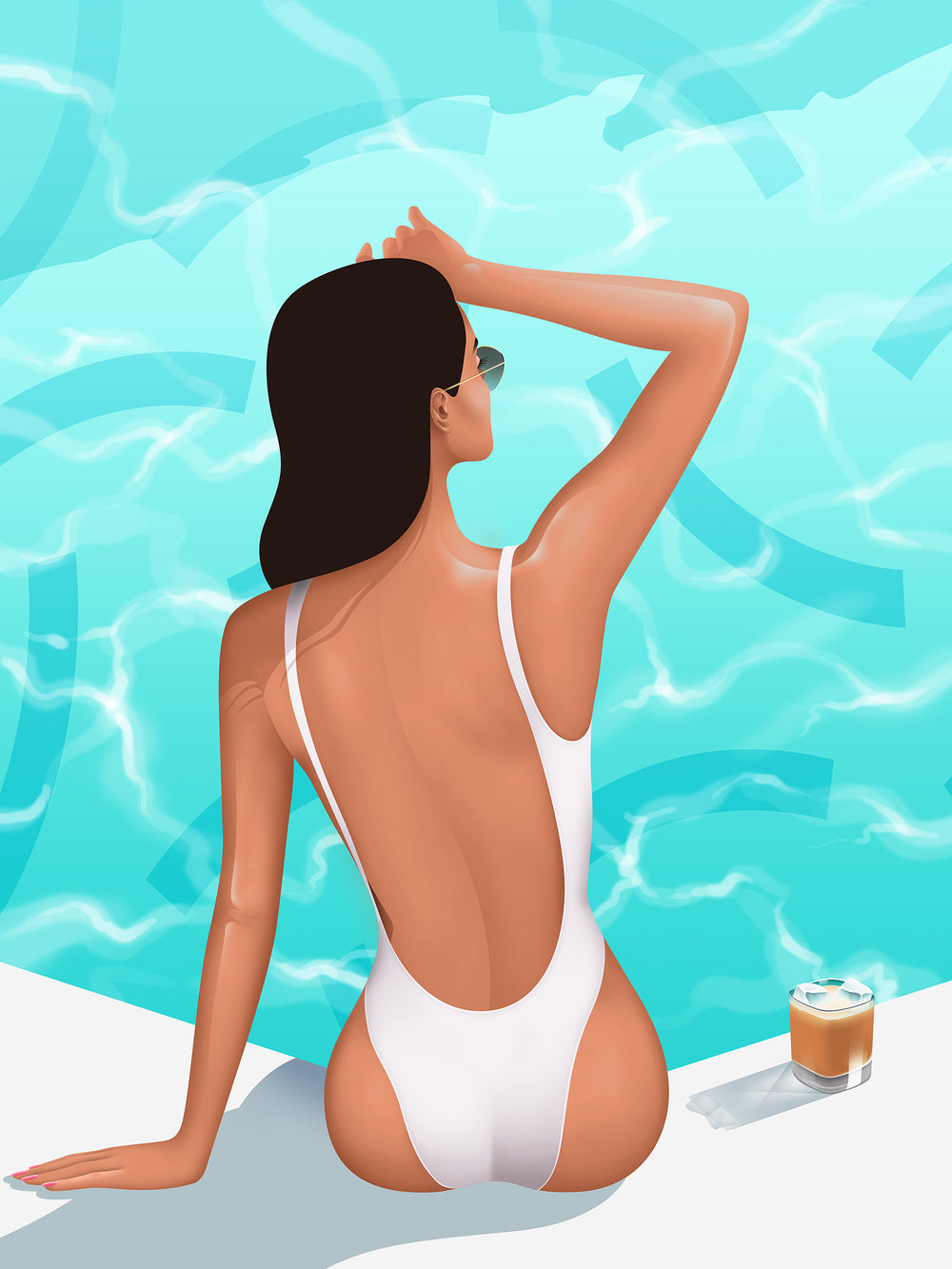 Lady in onepiece swimsuit enjoying Ice Coffee