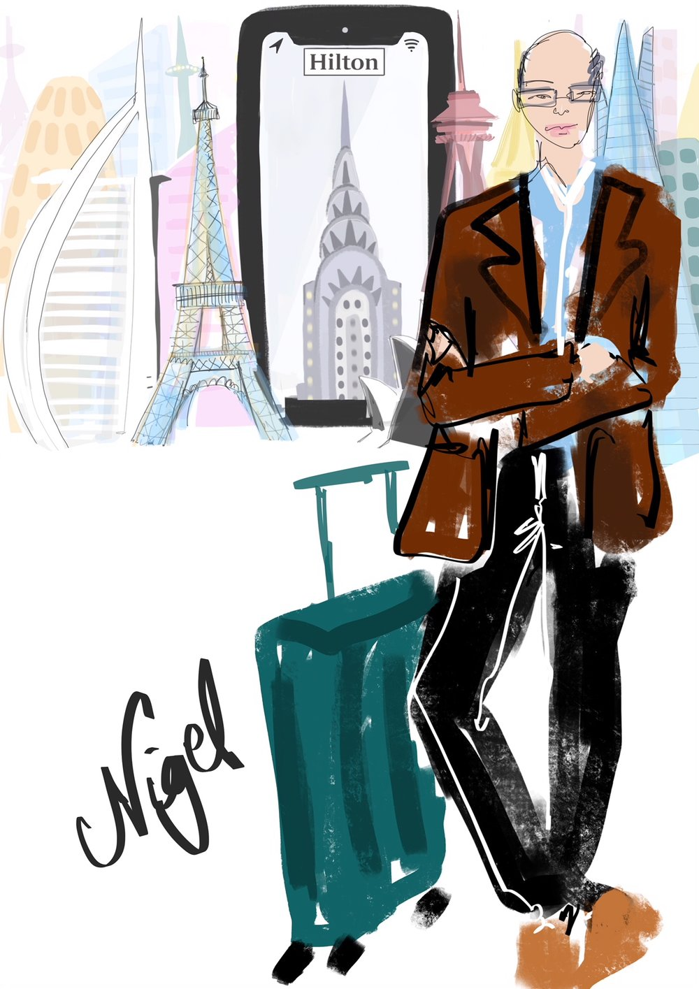 Drawing of Man With Suitcase