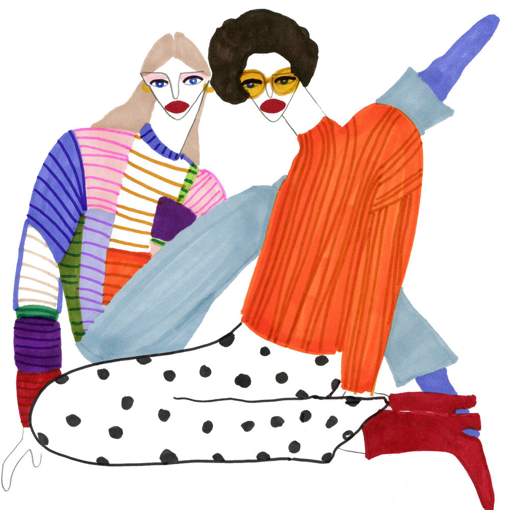 Two Women in a Fashion illustration