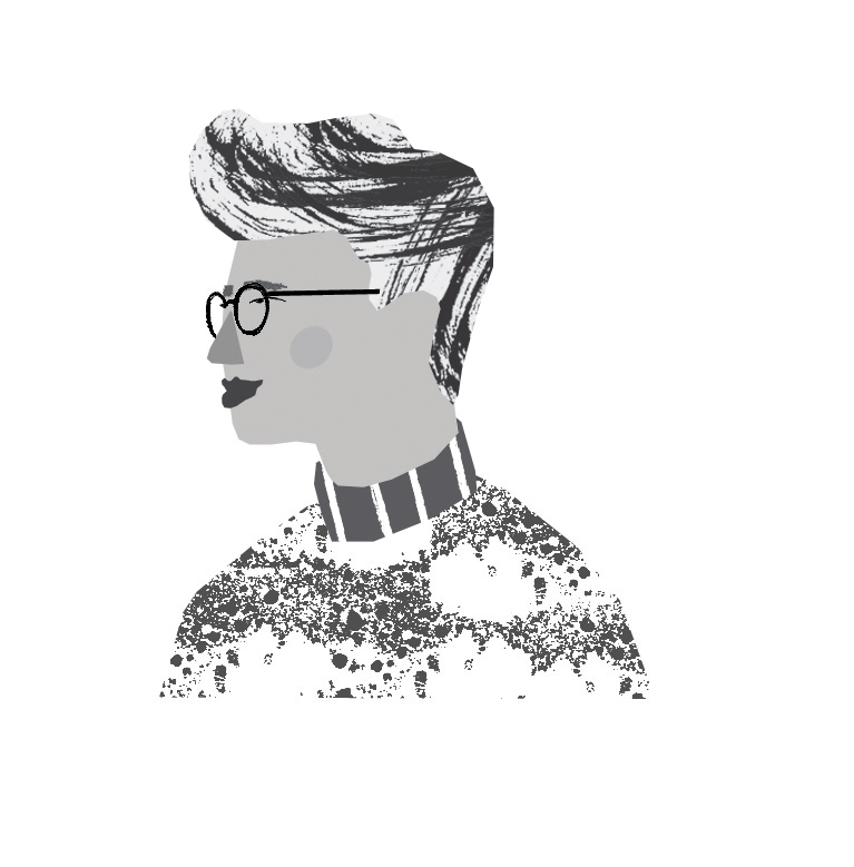 Digital illustration of a boy with glasses