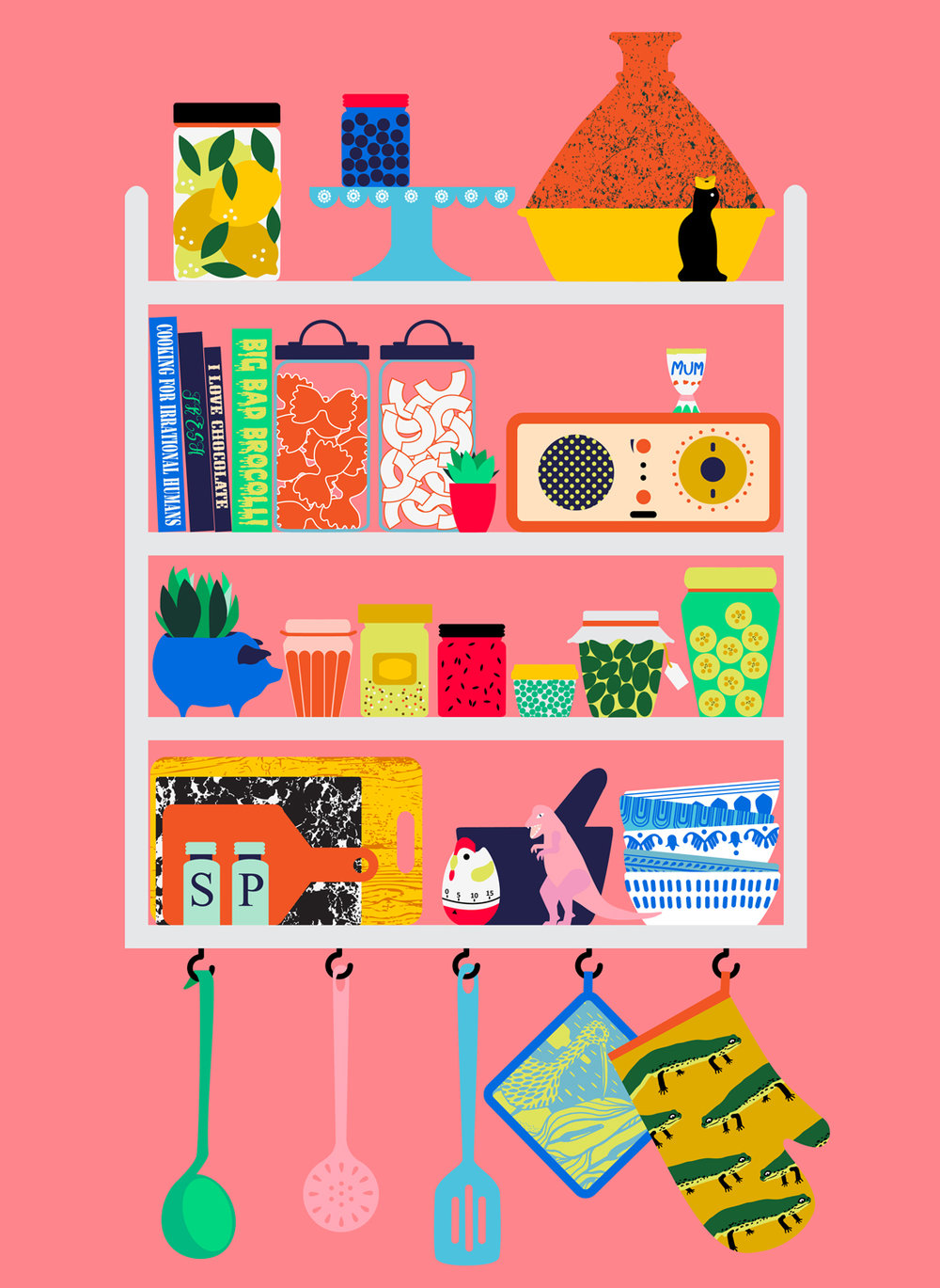 Kitchen shelf digital illustration