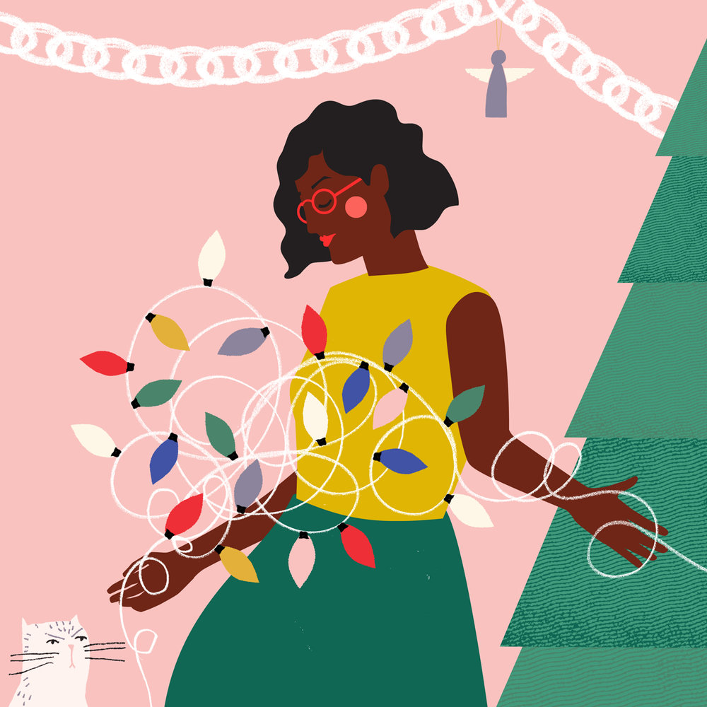 Illustration of girl tangling Christmas lights