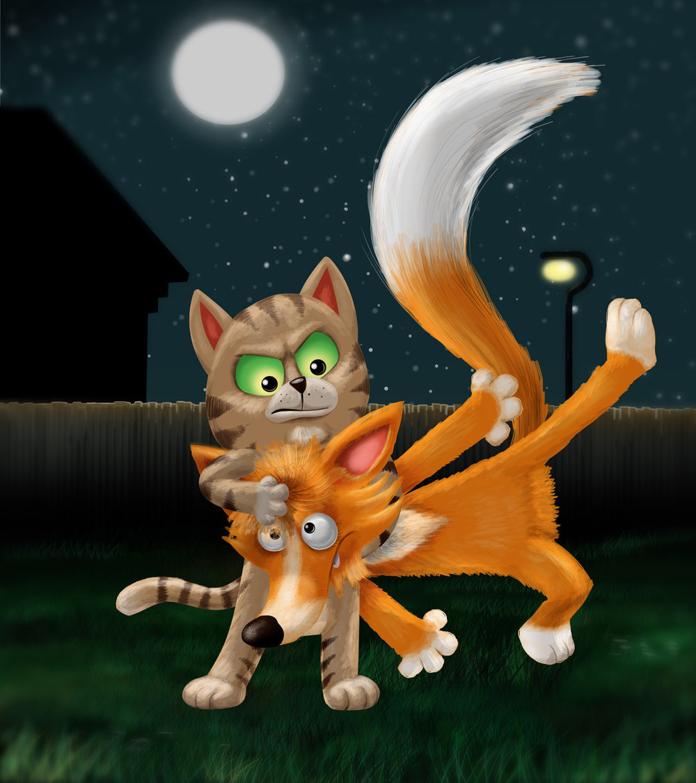 Cat and fox fight at moon light