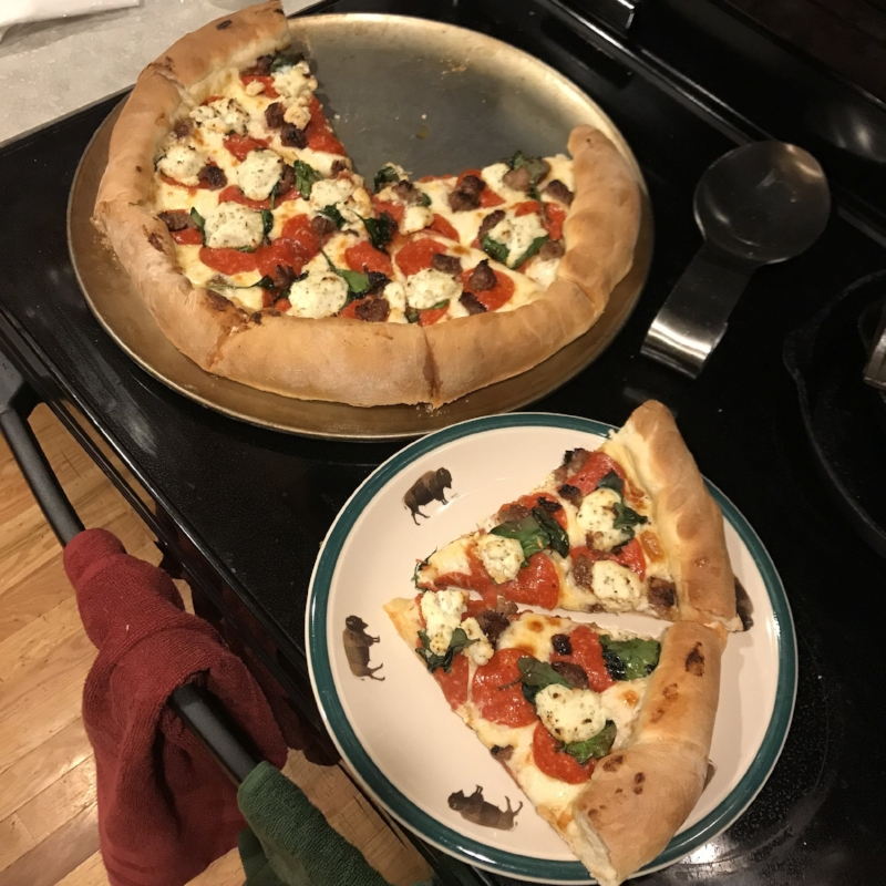 Mmm… pepperoni, sausage, spinach, and ricotta with a crust and sauce from scratch! Be jealy!