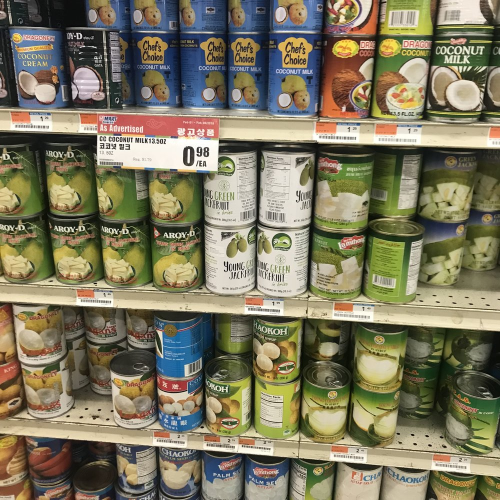 Y'all! H Mart got four different brands of canned jackfruit and all of them are $2 cheaper than Whole Foods. #SayNoToChadsAndJeffBezos