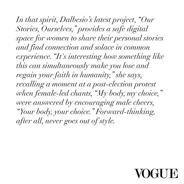 Thank you @vogue and @dbagdating for including us in your article about life in the new political climate. We're honored! If you're new to the project, please consider answering any one of our questions and sending us a video! We would love to hear your story. #ourstoriesourselves #vogue
