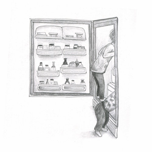 sketch of my kids getting into the fridge