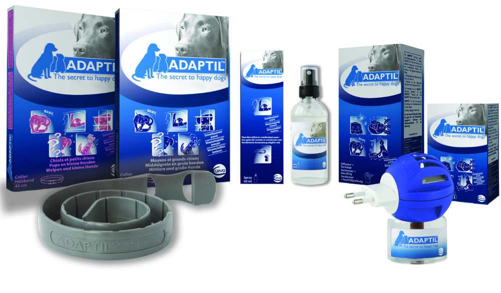 Adaptil Pheromone Products - Synthetic pheromones that mimic the pheromone mother dogs emit after giving birth to help their puppies feel calm and secure.  Dogs of all ages recognize this pheromone throughout life. The Adaptil products offer help in many situations, both indoors and outdoors, and for short-term and long-term use. They can help reduce behavior problems specific to dogs such as fear of loud noises, loneliness, excessive barking, and much more!