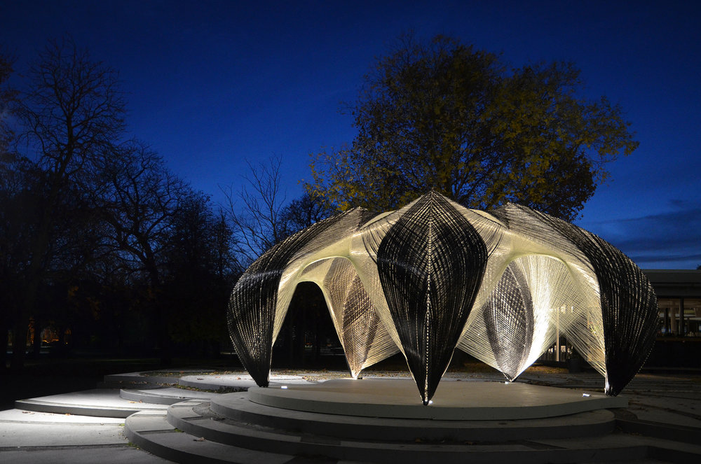 Pavilion by Institute for Computational Design (ICD) and the Institute of Building Structural Design (ITKE) of the University of Stuttgart. photo/ @ICD/ITKE University of Stuttgart; Professor Achim Menges
